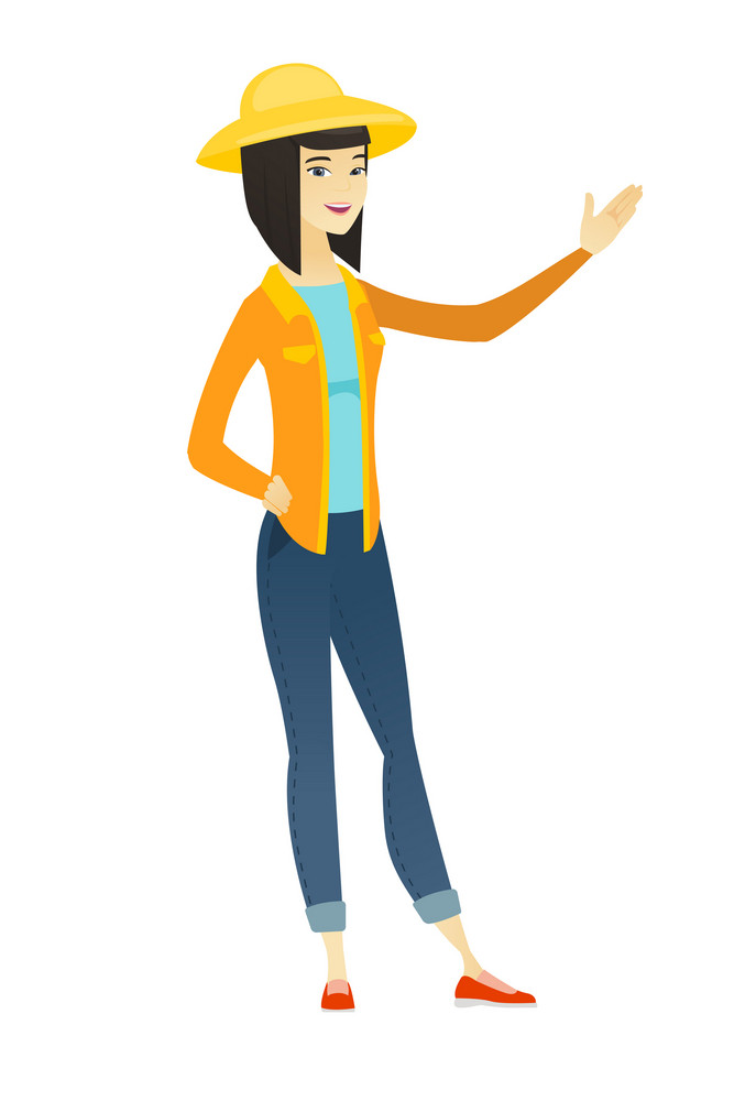 Smiling asian farmer in summer hat showing a direction. Full length of farmer pointing at something and showing a direction by her hand. Vector flat design illustration isolated on white background.