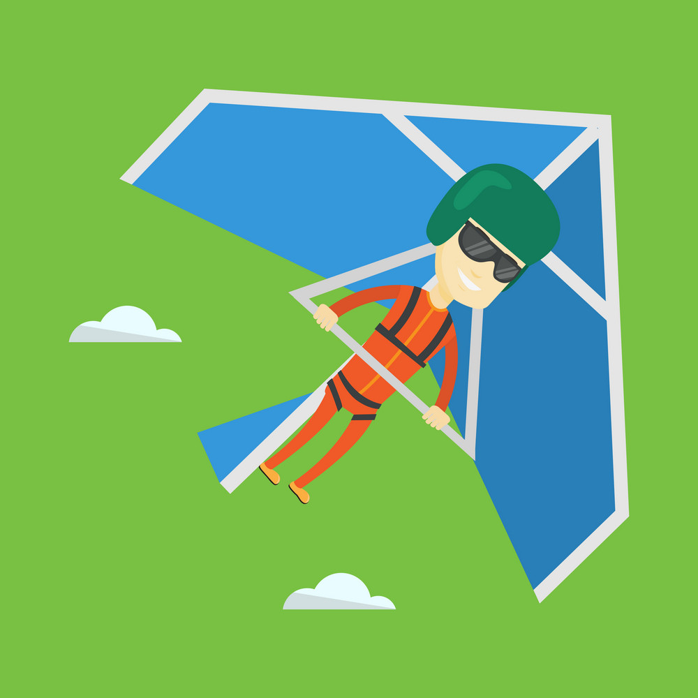 Smiling asian man flying on hang-glider. Sportsman taking part in hang gliding competitions. Man having fun while gliding on delta-plane in the sky. Vector flat design illustration. Square layout.