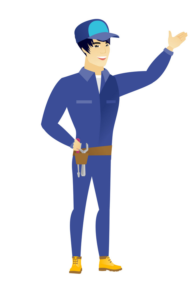 Smiling asian mechanic showing a direction. Full length of young mechanic pointing at something and showing a direction by his hand. Vector flat design illustration isolated on white background.