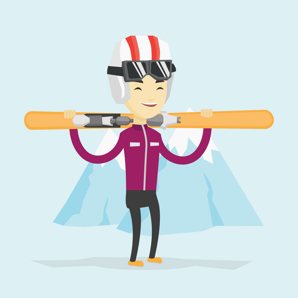 Smiling asian sportsman carrying skis. Sportsman standing with skis on his shoulders on the background of snow capped mountain. Young man skiing. Vector flat design illustration. Square layout.