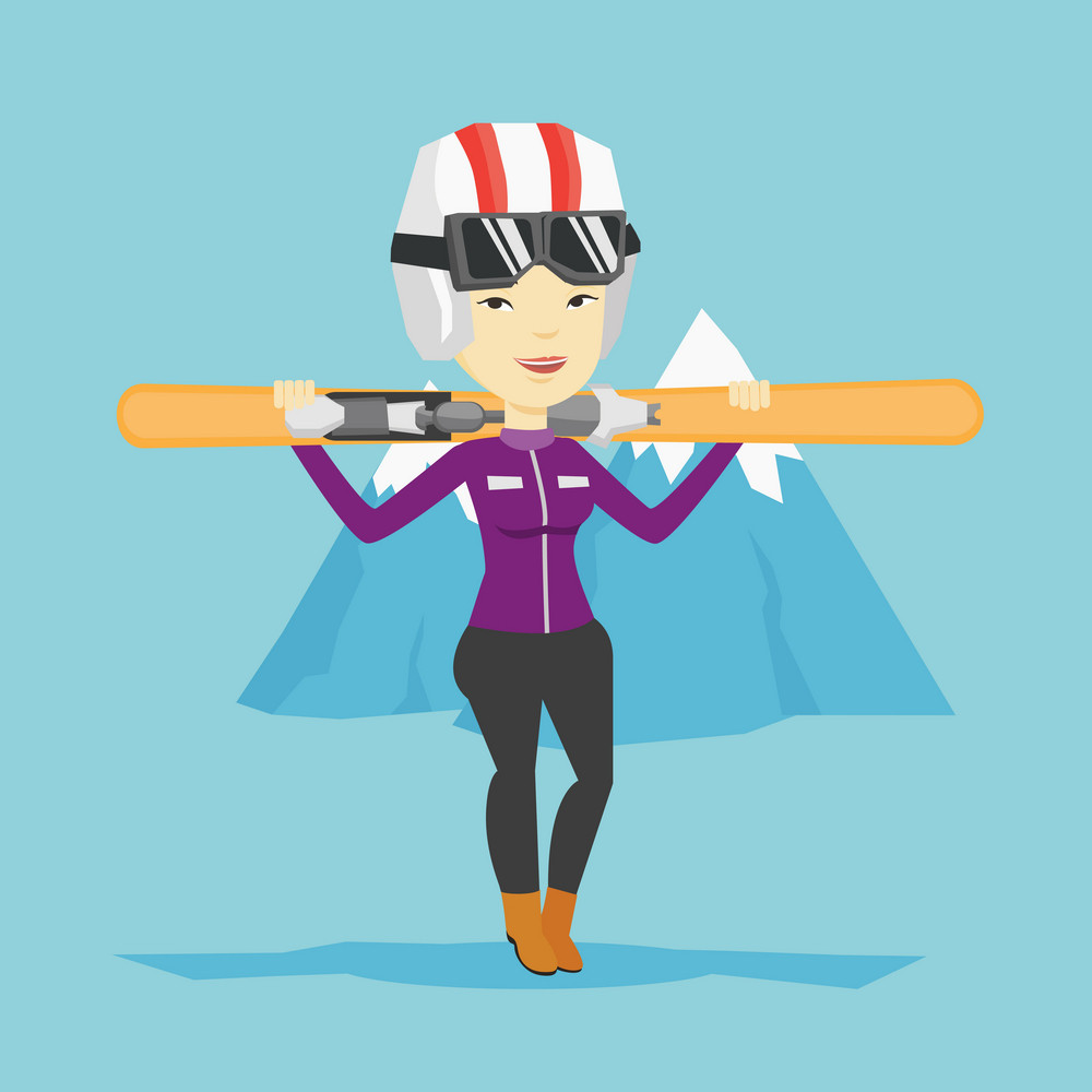 Smiling asian sportswoman carrying skis. Sportswoman standing with skis on his shoulders on the background of snow capped mountain. Young woman skiing. Vector flat design illustration. Square layout.
