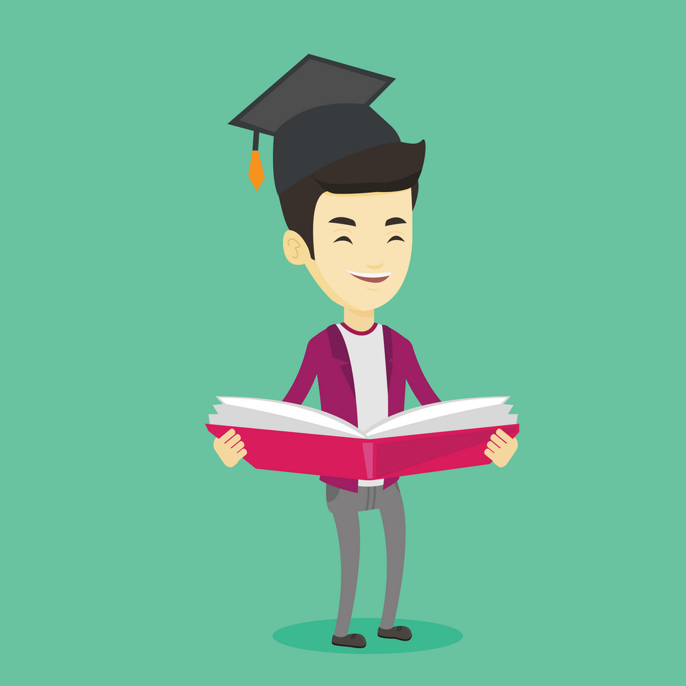 Smiling asian student in graduation cap reading a book. Graduate standing with a big open book in hands. Man holding a book. Concept of education. Vector flat design illustration. Square layout.