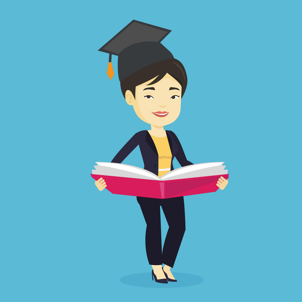 Smiling asian student in graduation cap reading a book. Graduate standing with a big open book in hands. Woman holding a book. Concept of education. Vector flat design illustration. Square layout.