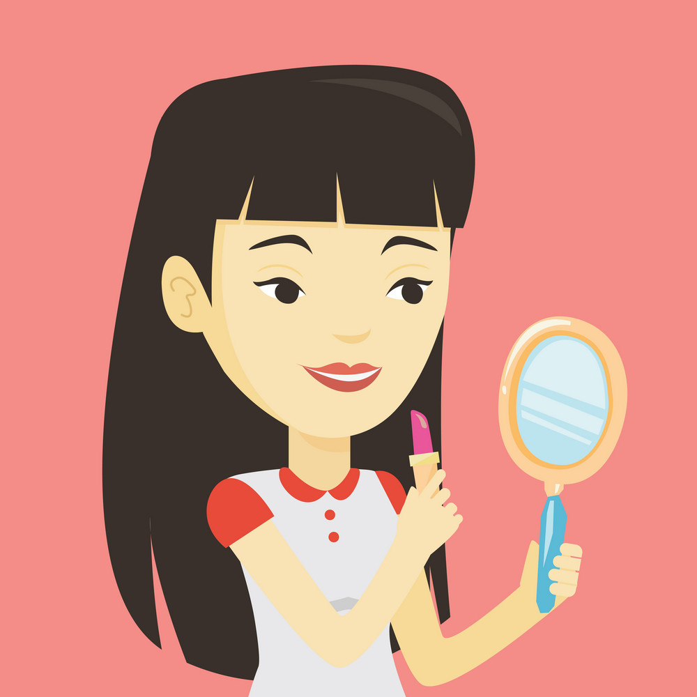 Smiling asian woman doing makeup and looking in hand-mirror. Woman rouge lips with red color lipstick. Young woman paints her lips. Vector flat design illustration. Square layout.