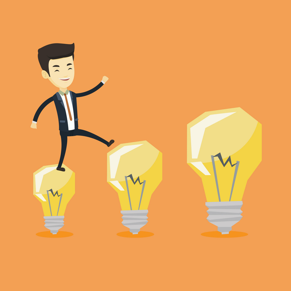 Smiling business man hopping onto idea light bulbs. Young asian business man jumping on idea light bulbs. Concept of successful business idea. Vector flat design illustration. Square layout.