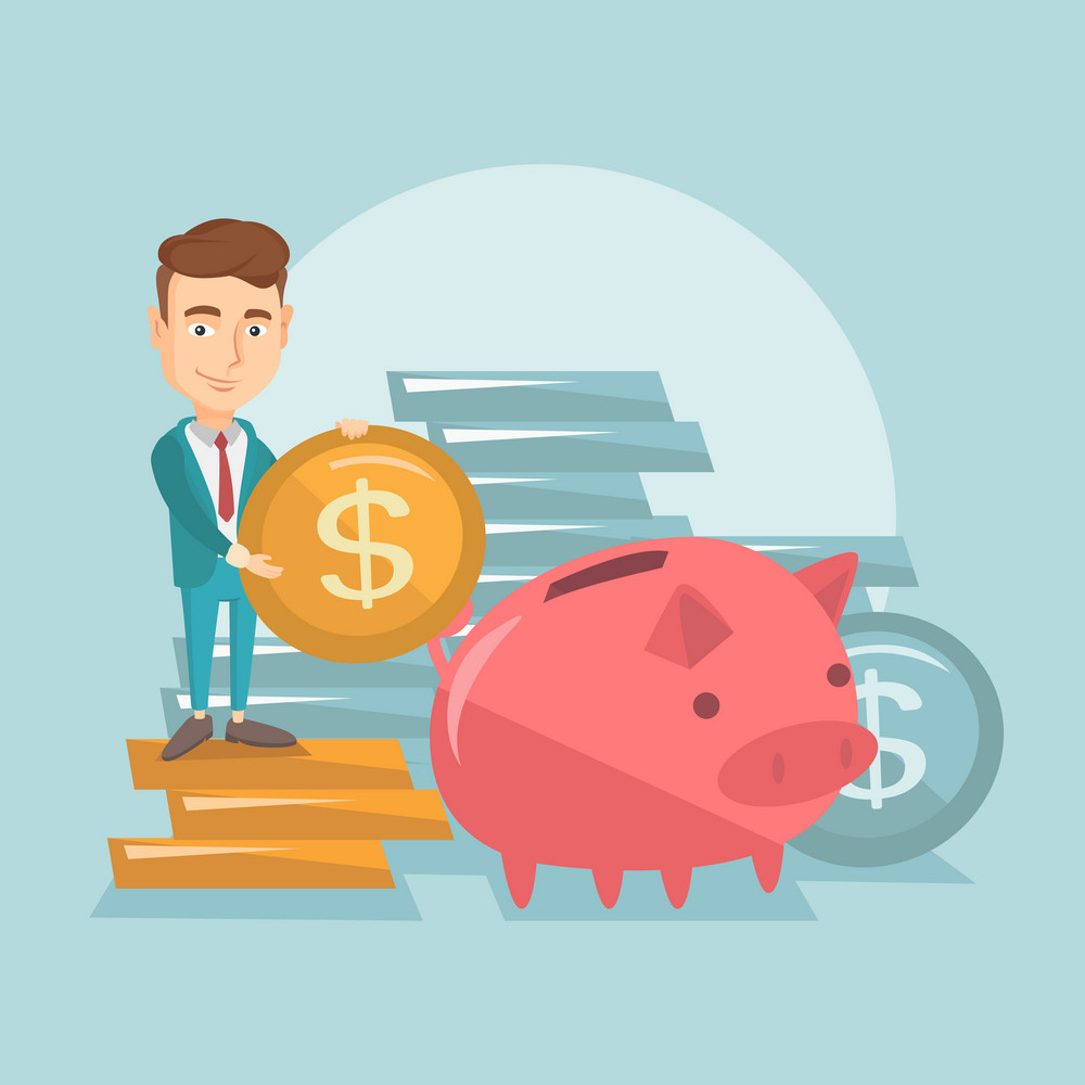 Smiling business man putting money in a big pink piggy bank. Young caucasian business man saving his money in piggy bank. Concept of saving money. Vector flat design illustration. Square layout.