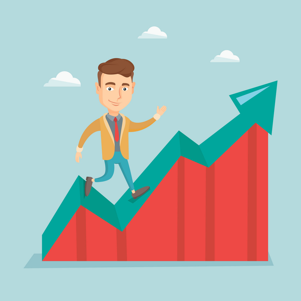 Smiling business man standing on profit chart. Caucasian successful business man running along the profit chart. Concept of business profit. Vector flat design illustration. Square layout.