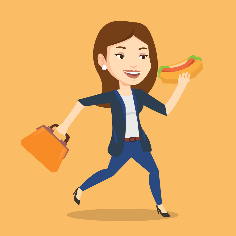 Smiling business woman in a hurry eating hot dog. Business woman with briefcase eating on the run. Young business woman running and eating hot dog. Vector flat design illustration. Square layout.