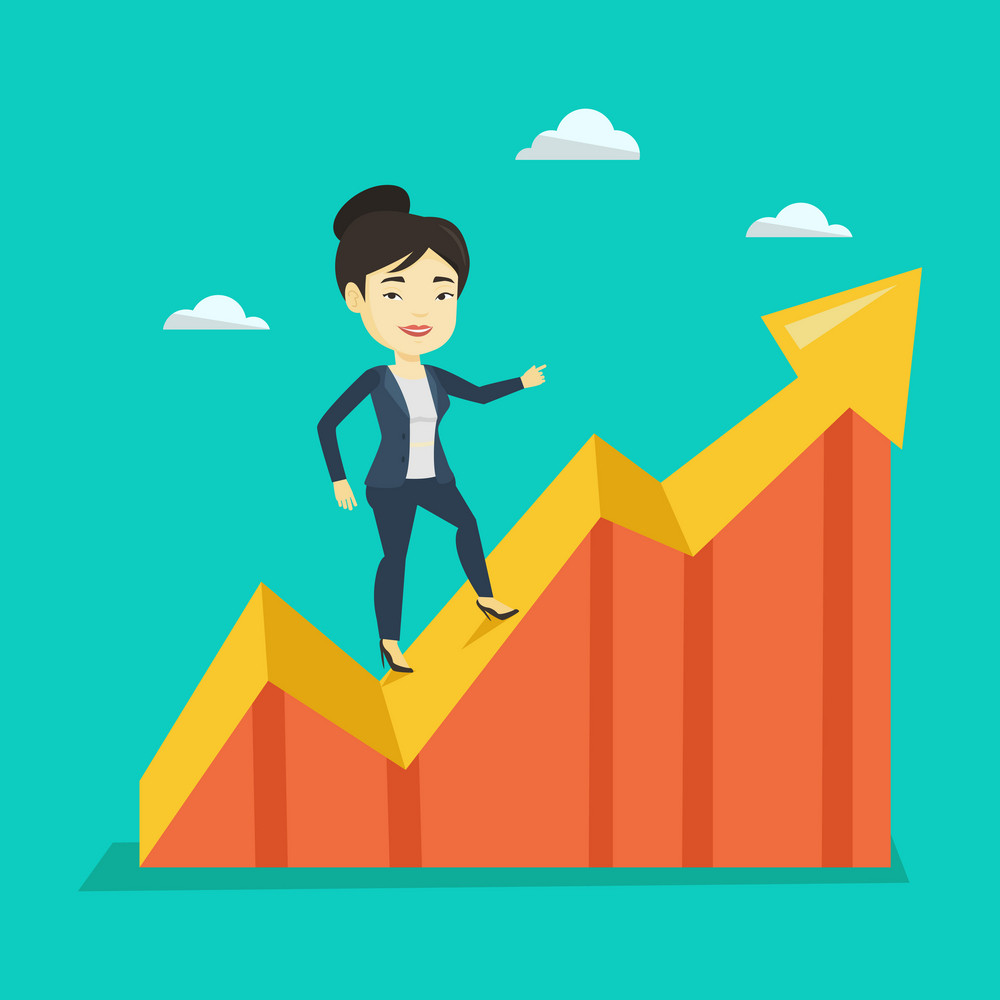 Smiling business woman standing on profit chart. Asian successful business woman running along the profit chart. Concept of business profit. Vector flat design illustration. Square layout.