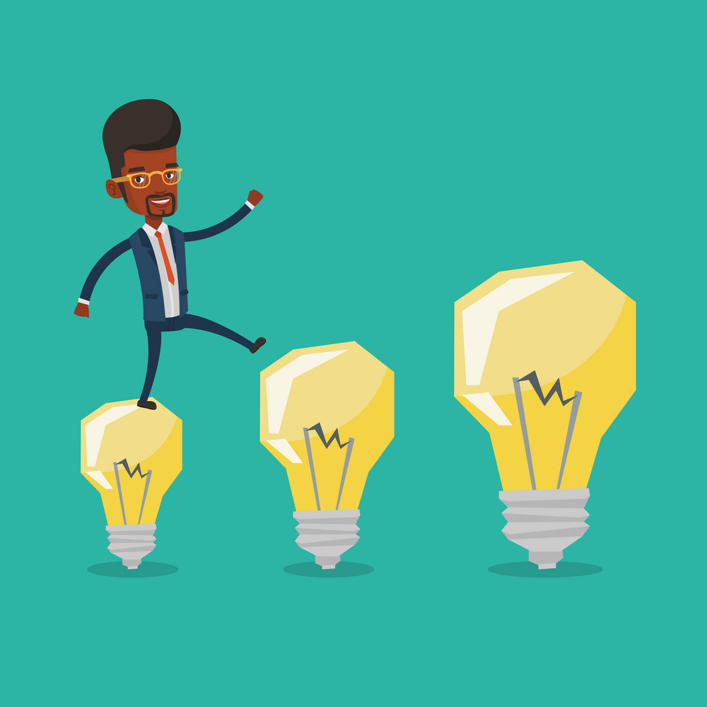Smiling businessman in a suit hopping onto idea light bulbs. An african-american cheerful businessman jumping on idea bulbs. Concept of business idea. Vector flat design illustration. Square layout.