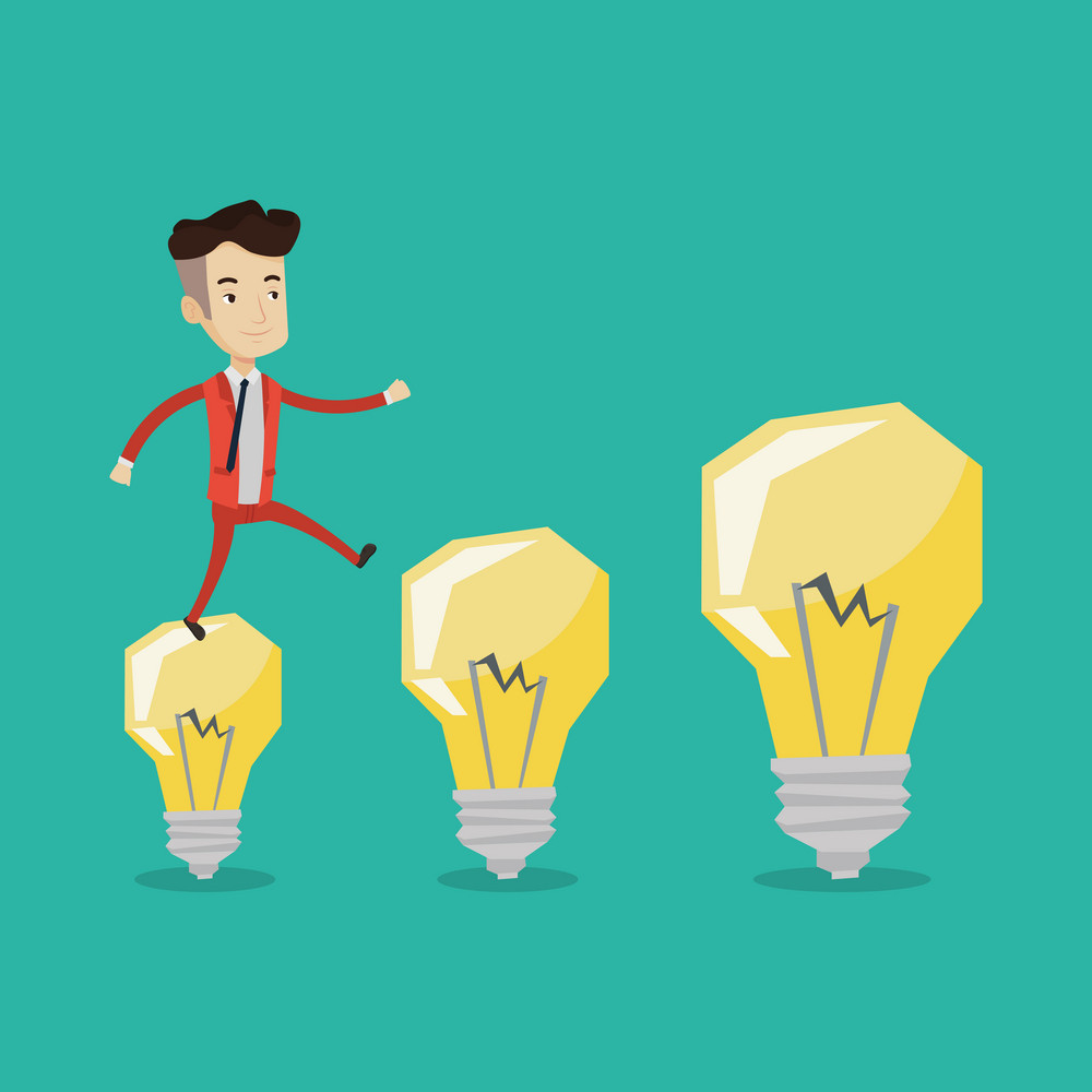 Smiling businessman in a suit hopping onto light bulbs. Young cheerful businessman jumping on light bulbs. Concept of business idea. Vector flat design illustration. Square layout.