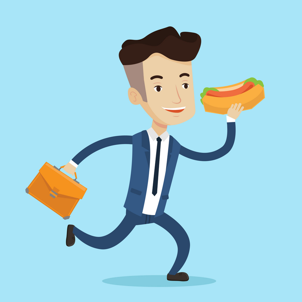 Smiling businessman in hurry eating hot dog. Happy businessman with briefcase eating on the run. Young man in business suit running with fast food. Vector flat design illustration. Square layout.