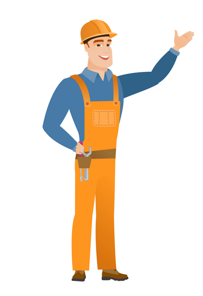 Smiling caucasian builder showing a direction. Full length of young builder pointing at something and showing a direction by his hand. Vector flat design illustration isolated on white background.