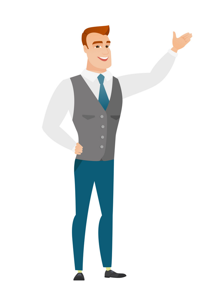 Smiling caucasian business man showing a direction. Full length of business man pointing at something and showing a direction by his hand. Vector flat design illustration isolated on white background.