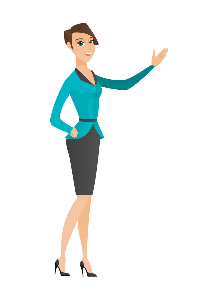 Smiling caucasian business woman showing a direction. Full length of business woman pointing at something and showing a direction by hand. Vector flat design illustration isolated on white background.