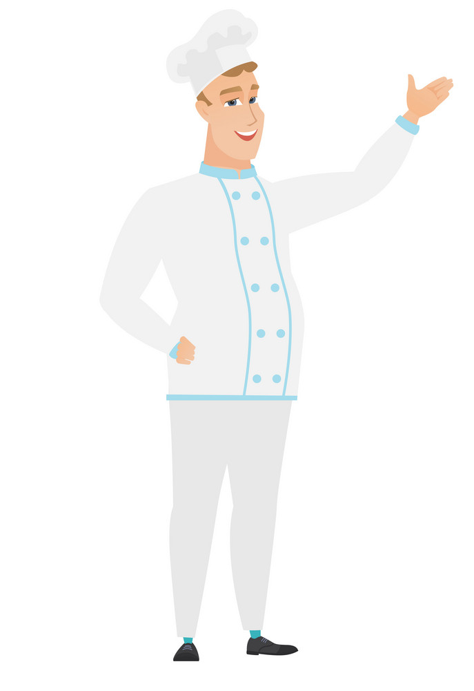 Smiling caucasian chef cook showing a direction. Full length of chef cook pointing at something and showing a direction by his hand. Vector flat design illustration isolated on white background.