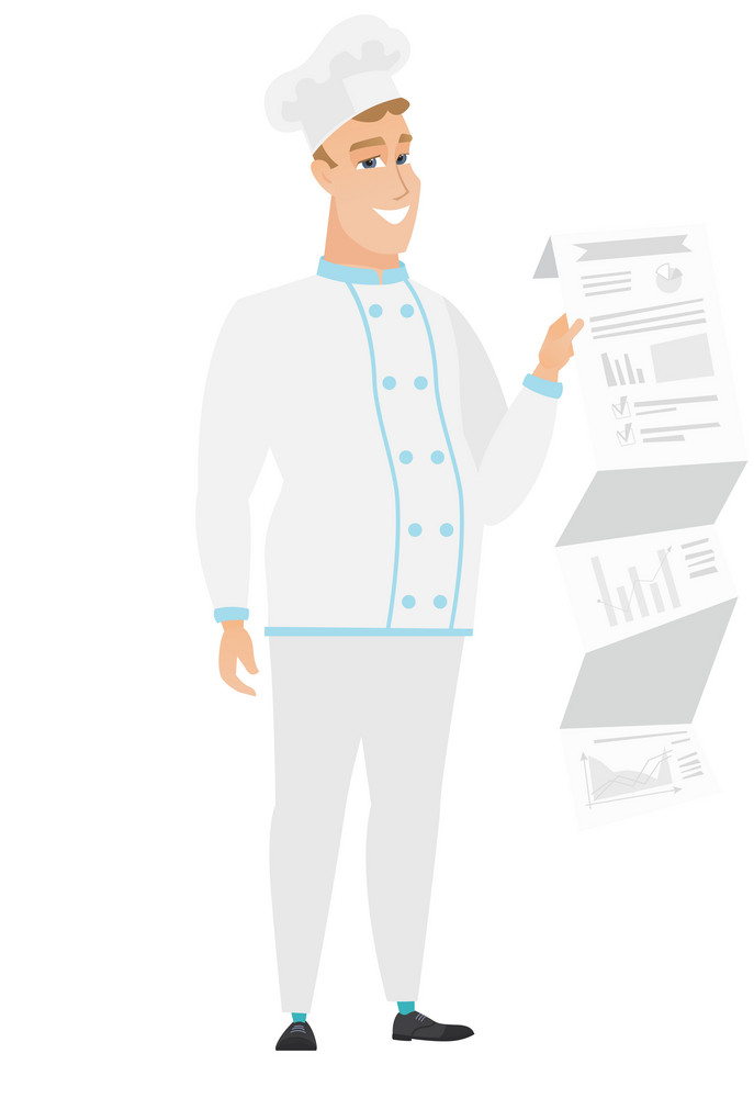 Smiling caucasian chef cook showing document with business presentation. Full length of young chef cook giving business presentation. Vector flat design illustration isolated on white background.