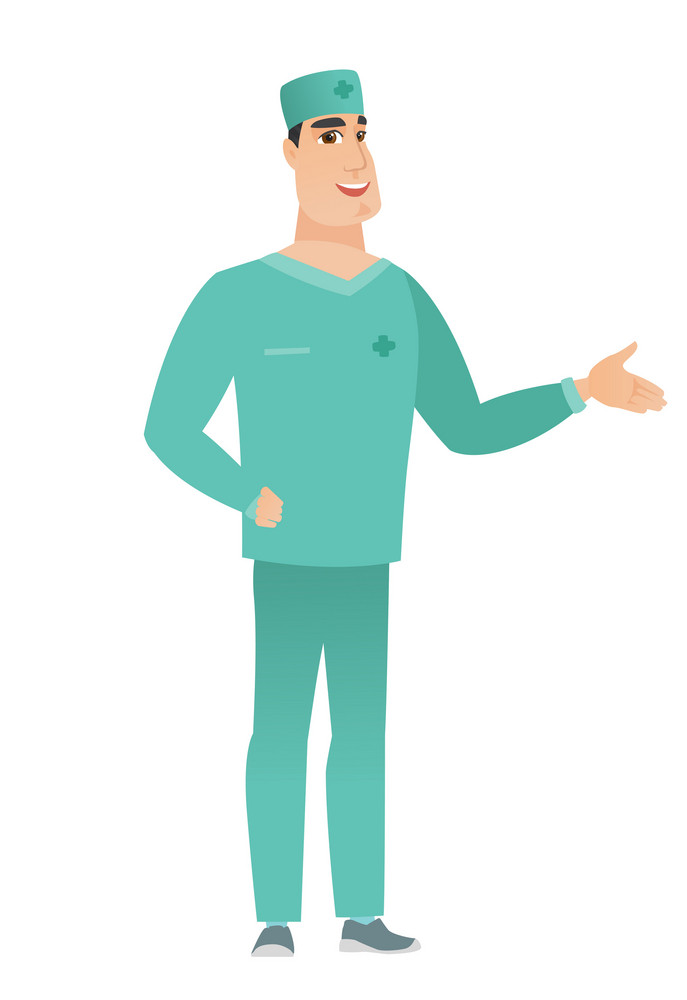 Smiling caucasian doctor in uniform with his hand in pocket. Full length of young happy doctor holding his hand in the pocket of pants. Vector flat design illustration isolated on white background.