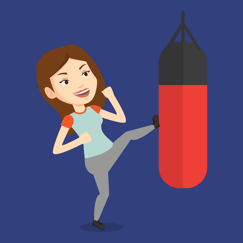 Smiling caucasian female boxer exercising with boxing bag. Female boxer hitting heavy bag during training. Female boxer training with the punch bag. Vector flat design illustration. Square layout.