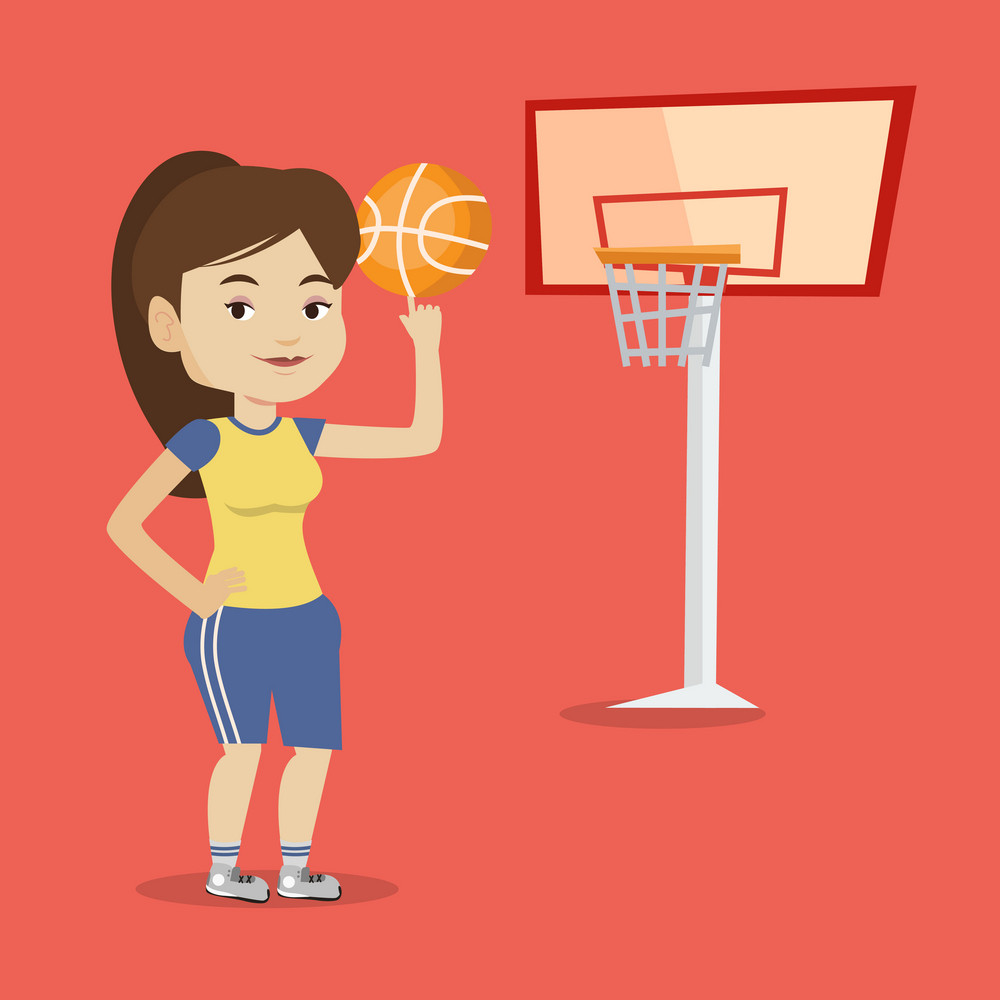 Smiling caucasian sportswoman spinning basketball ball on her finger. Young basketball player standing on the court. Basketball player in action. Vector flat design illustration. Square layout.