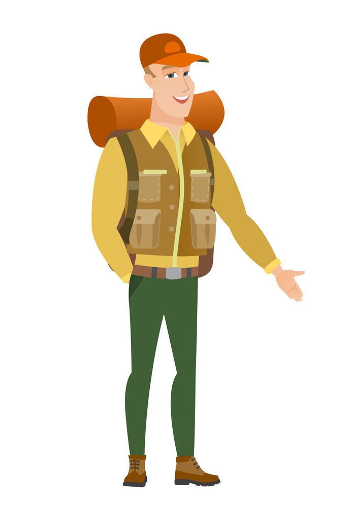 Smiling caucasian traveler with his hand in his pocket. Full length of young happy traveler holding his hand in the pocket of pants. Vector flat design illustration isolated on white background