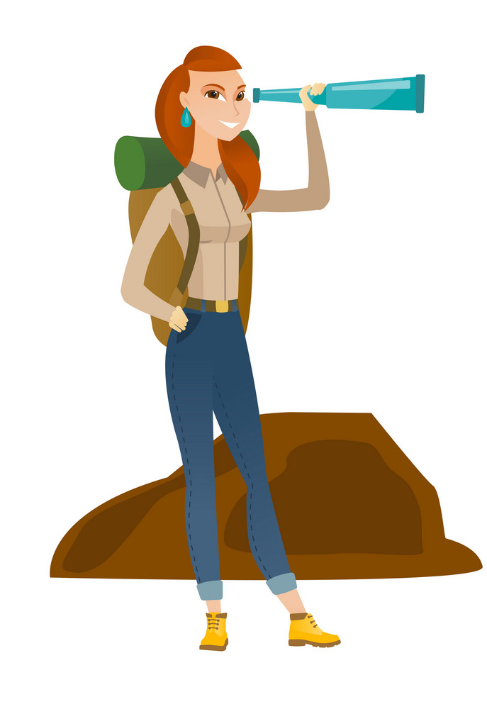 Smiling caucasian traveler with spyglass. Full length of young female traveler with spyglass. Cheerful traveler looking through spyglass. Vector flat design illustration isolated on white background.