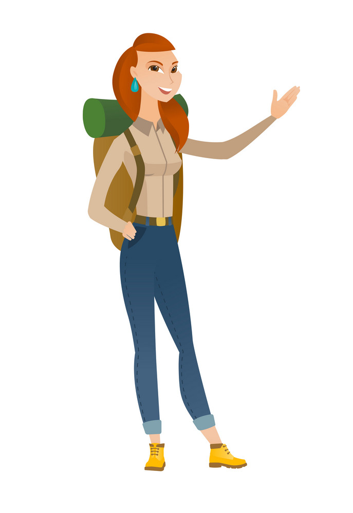 Smiling caucasian traveler woman showing a direction. Full length of traveler pointing at something and showing a direction by her hand. Vector flat design illustration isolated on white background.
