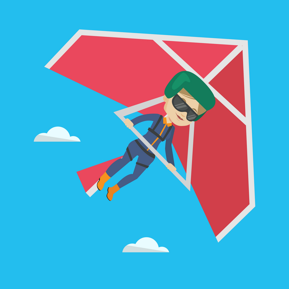 Smiling caucasian woman flying on hang-glider. Sportswoman taking part in hang gliding competitions. Woman having fun while gliding on delta-plane. Vector flat design illustration. Square layout.