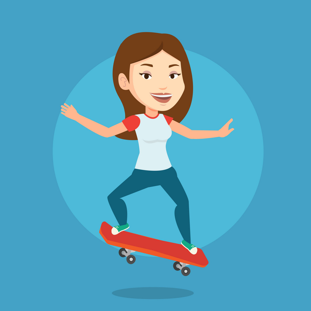 Smiling caucasian woman riding a skateboard. Happy sportswoman skateboarding. Young skater riding a skateboard. Sportsoman jumping with skateboard. Vector flat design illustration. Square layout.
