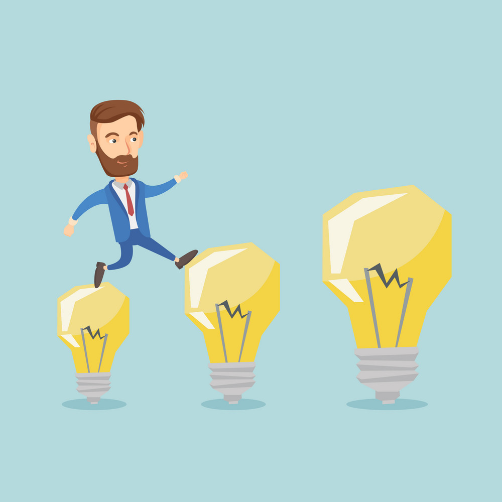 Smiling hipster business man with beard hopping onto idea light bulbs. Caucasian business man jumping on idea light bulbs. Concept of business idea. Vector flat design illustration. Square layout.