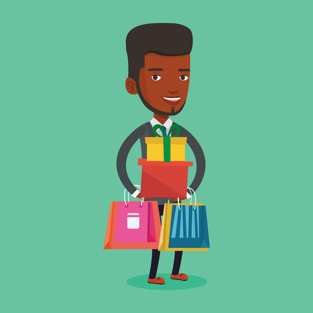 Smiling man holding shopping bags and gift boxes. Happy african-american man carrying shopping bags and boxes. Man standing with a lot of shopping bags. Vector flat design illustration. Square layout.