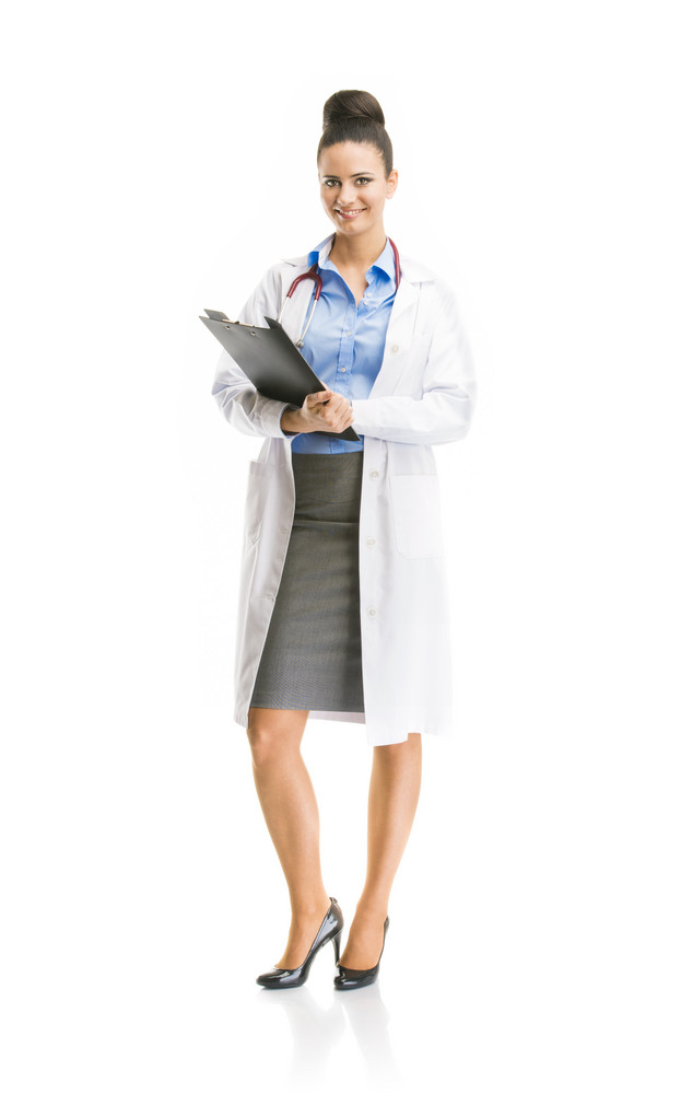 Smiling medical doctor woman with stethoscope. Full body portraits isolated on white background.