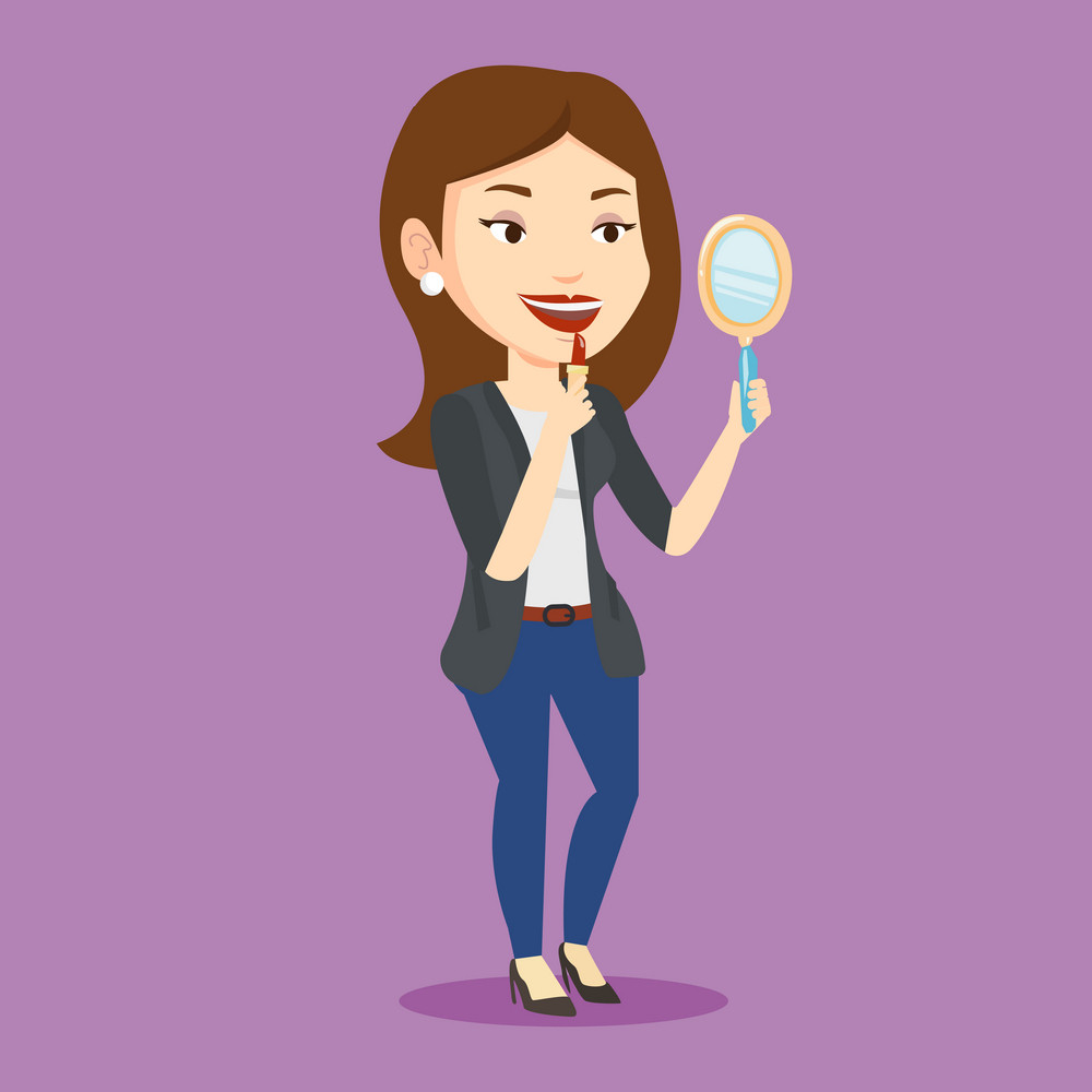 Smiling woman doing makeup and looking in hand-mirror. Woman rouge lips with red color lipstick. Young woman paints her lips. Vector flat design illustration. Square layout