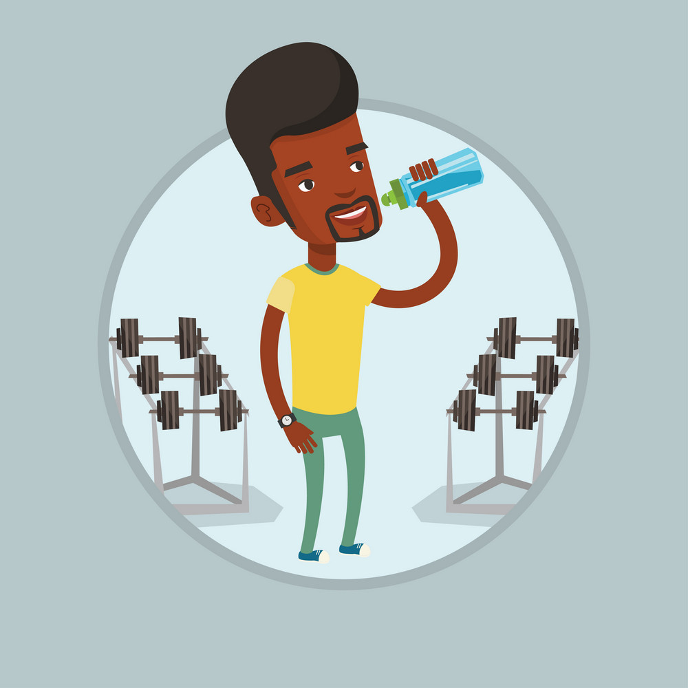 Sportive african-american man drinking water. Man with bottle of water in the gym. Sportsman drinking water from the bottle. Vector flat design illustration in the circle isolated on background.