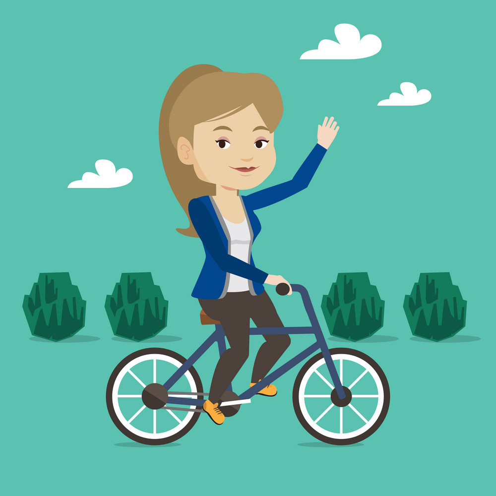 Sportive woman riding a bicycle in the park. Cyclist riding bicycle and waving her hand. Young woman on a bicycle outdoors. Healthy lifestyle concept. Vector flat design illustration. Square layout.