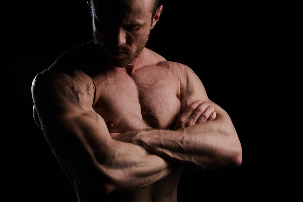Sporty muscular man