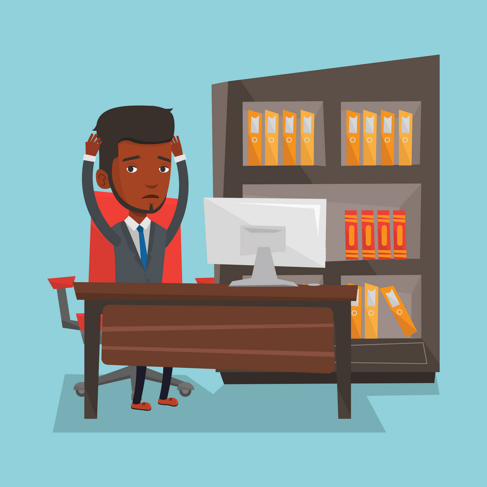Stressed african-american office worker. Overworked businessman feeling stress from work. Stressful man sitting at workplace. Stress at work concept. Vector flat design illustration. Square layout.