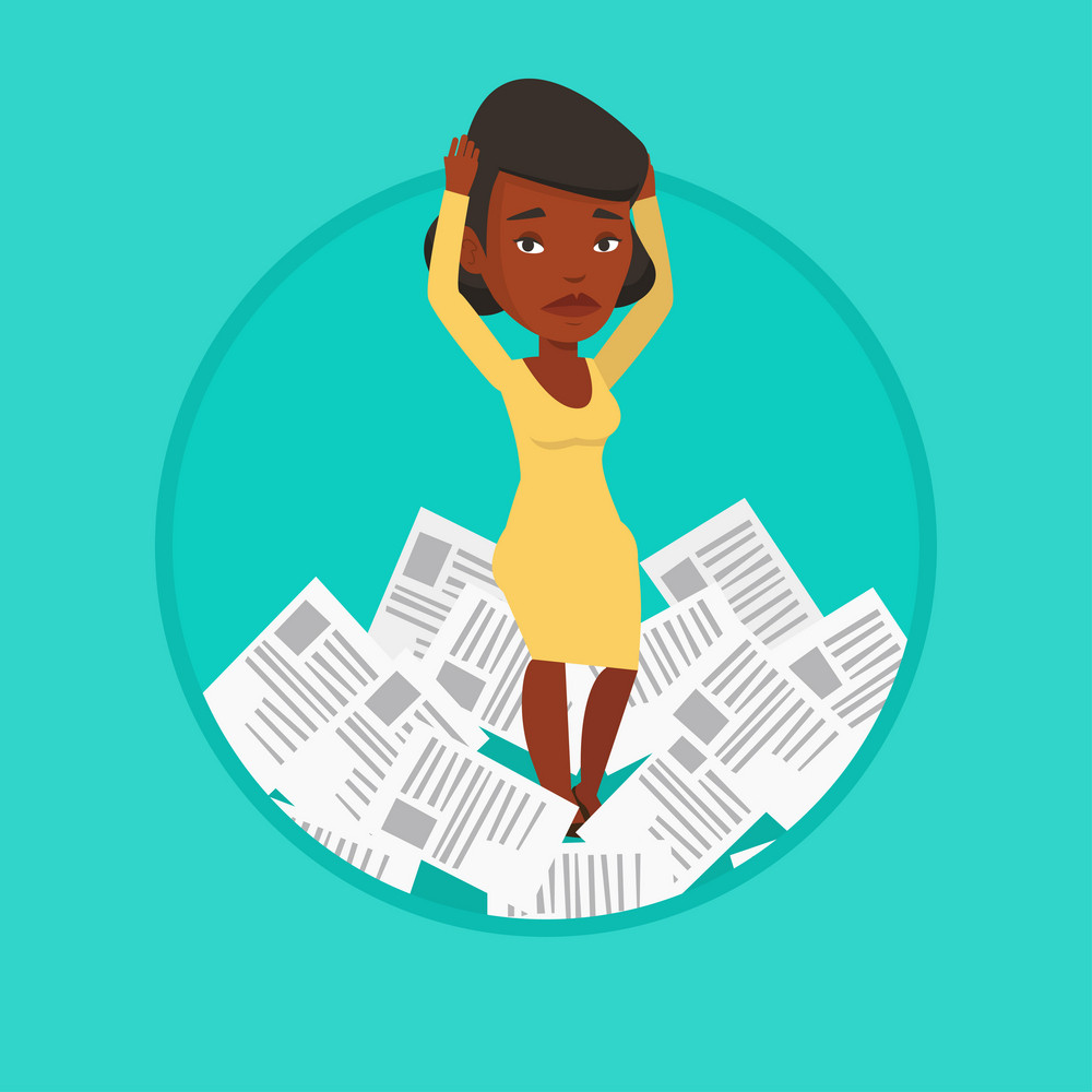 Stressed businesswoman having a lot of paperwork. Businesswoman surrounded by lots of papers. Woman standing in the heap of papers. Vector flat design illustration in the circle isolated on background