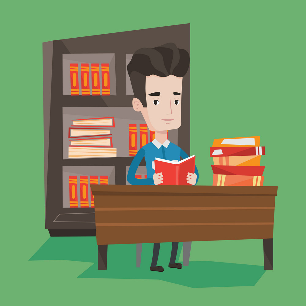 Student sitting at the table and holding a book in hands. Smiling student reading a book. Cheerful male student reading a book and preparing for exam. Vector flat design illustration. Square layout.