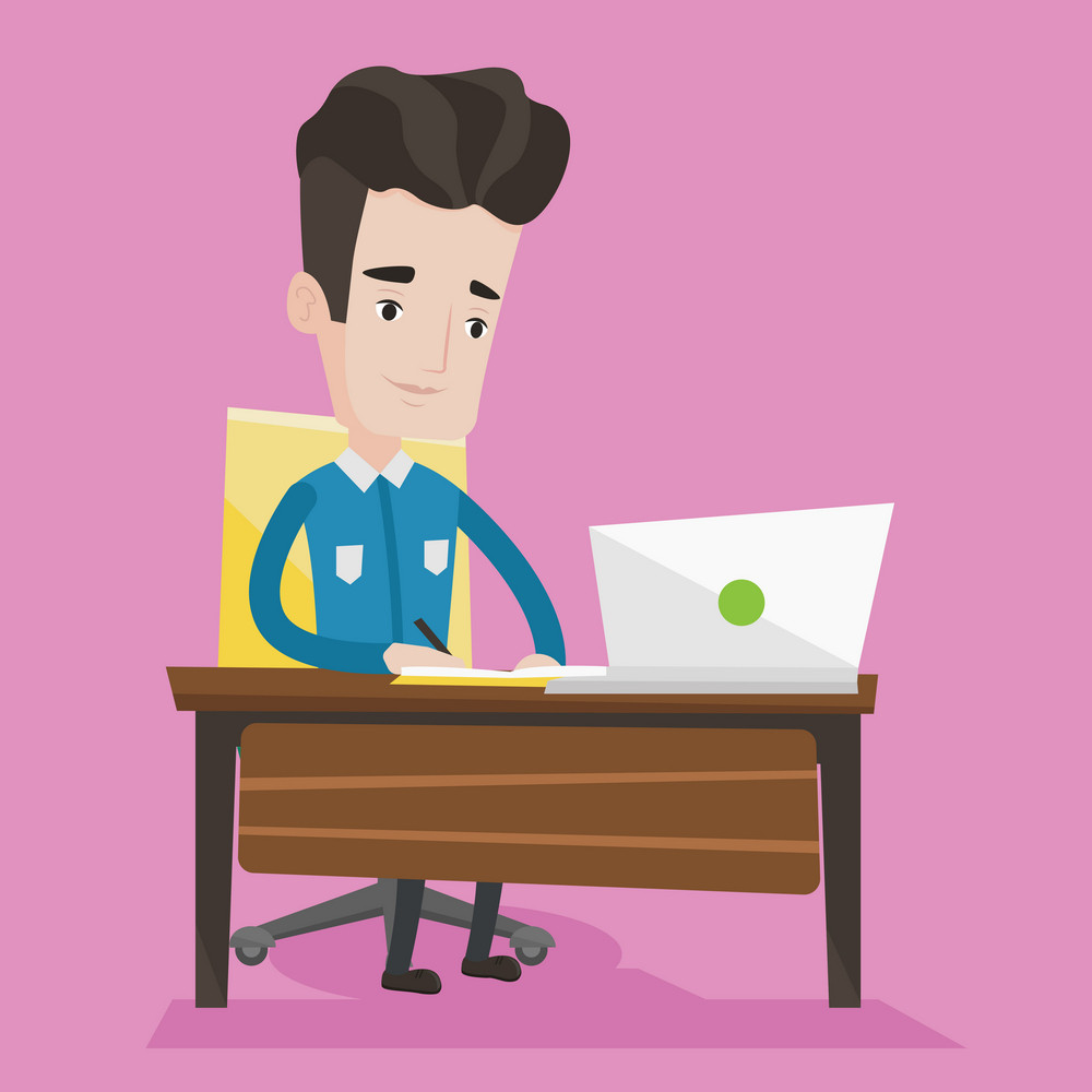 Student sitting at the table with laptop. Student using laptop for education. Man working on laptop and writing notes. Concept of educational technology. Vector flat design illustration. Square layout