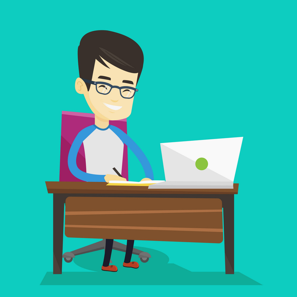 Student sitting at the table with laptop. Student using laptop for education. Man working on laptop and writing notes. Educational technology concept. Vector flat design illustration. Square layout.
