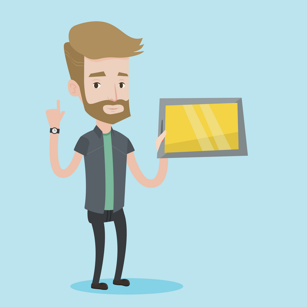 Student using a tablet computer. A hipster student with the beard holding tablet computer and pointing forefinger up. Concept of educational technology. Vector flat design illustration. Square layout.