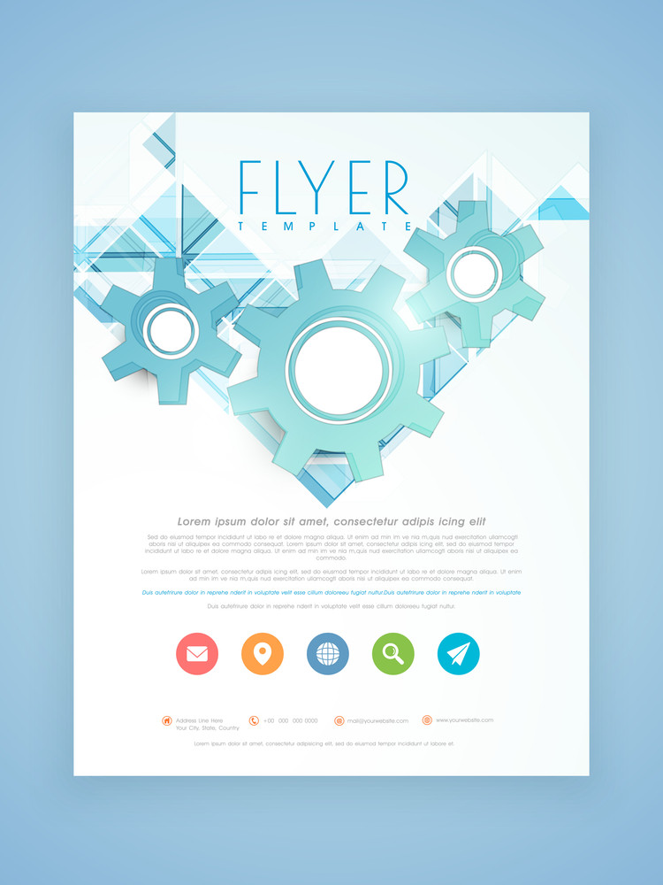 Stylish Business Flyer Template Or Brochure Design With 3d Gears