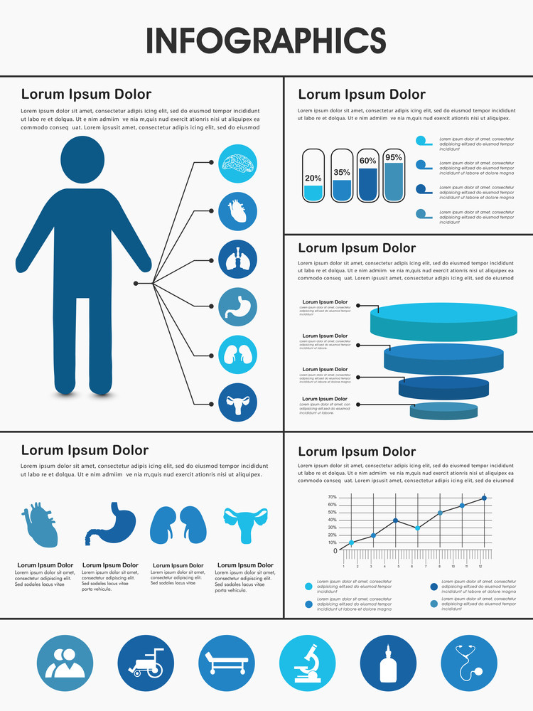 Stylish Healthcare infographics with human body, internal body ...