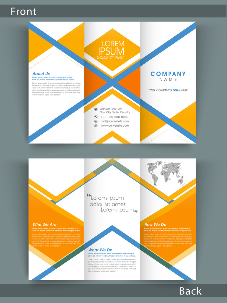 Stylish tri fold business flyer template or brochure design with stylish tri fold business flyer template or brochure design with both page presentation for your corporate need wajeb Images