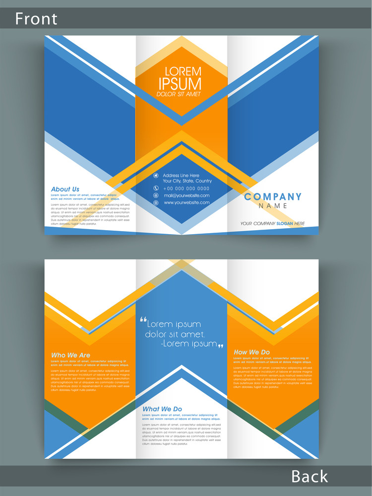 Stylish Tri Fold flyer, brochure or template design for your company with place holders.
