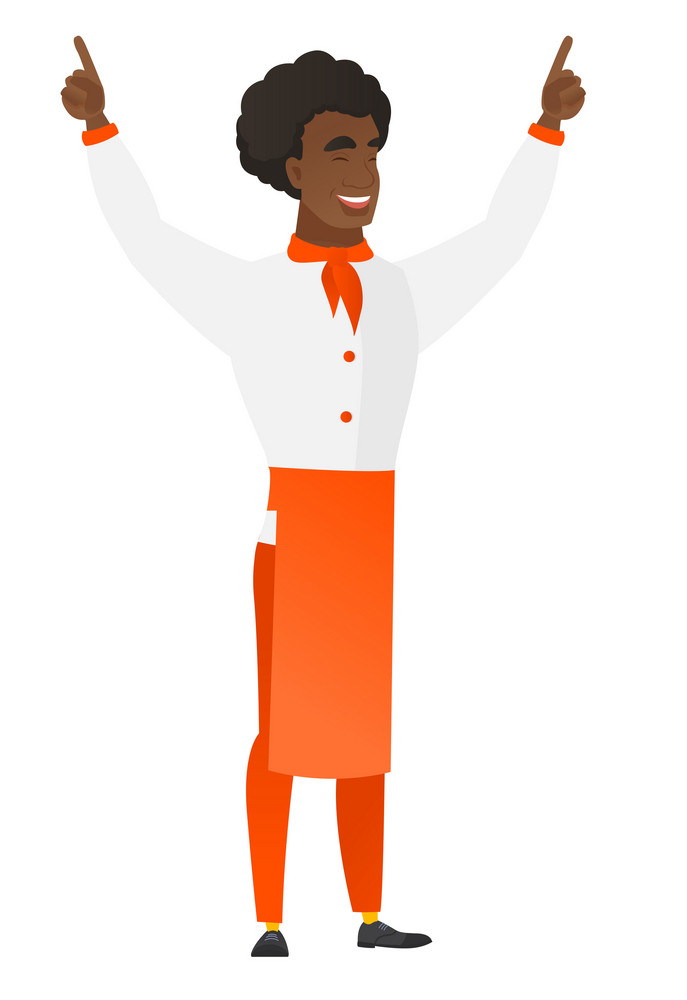 Successful african-american chef cook standing with raised arms up. Full length of chef cook in uniform celebrating with raised arms up. Vector flat design illustration isolated on white background.
