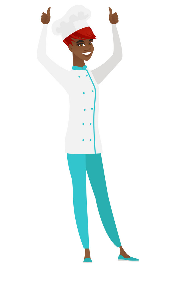 Successful african-american chef cook standing with raised arms up. Successful chef cook giving thumbs up. Chef cook celebrating success. Vector flat design illustration isolated on white background.