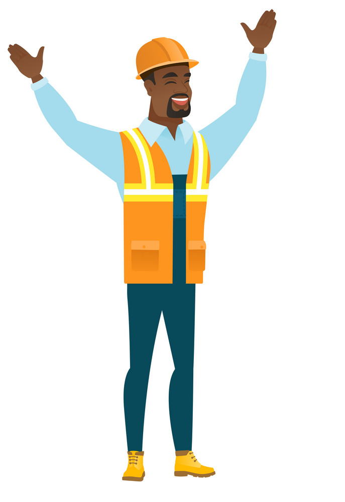 Successful african-american constructor standing with raised arms up. Full length of happy constructor celebrating with raised arms up. Vector flat design illustration isolated on white background.