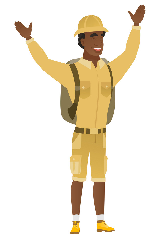 Successful african-american tourist standing with raised arms up. Full length of young happy tourist celebrating with raised arms up. Vector flat design illustration isolated on white background.